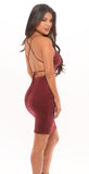 Suede Tie Back Dress - Burgundy -dresses
