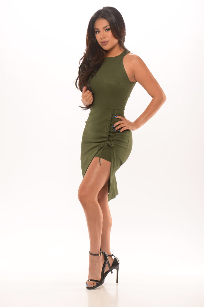 Tie Me Down Bodycon Dress - Olive -dresses