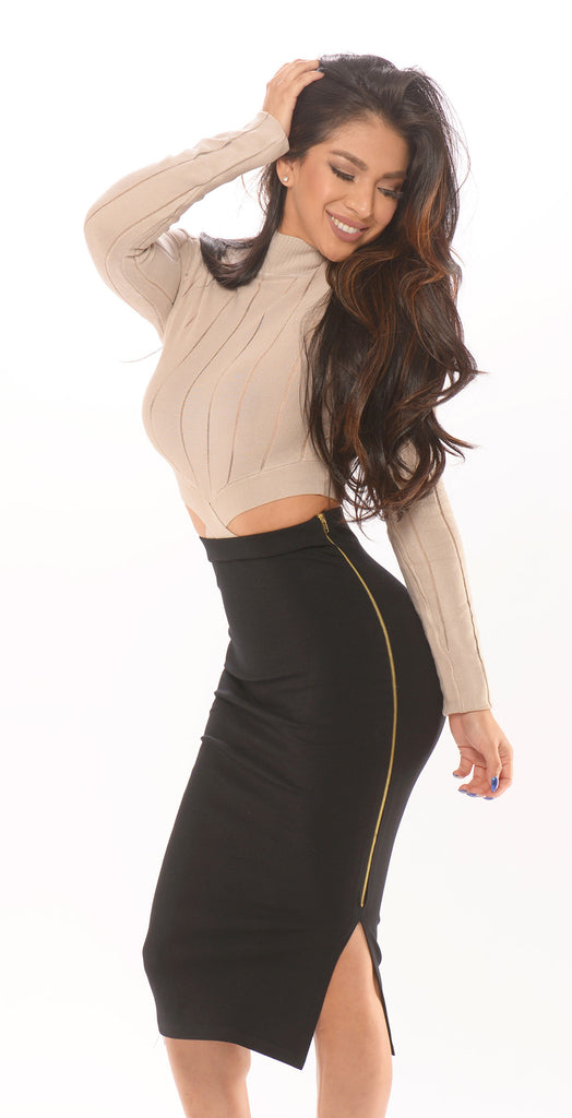 Exposed Side Zipped Skirt -bottoms