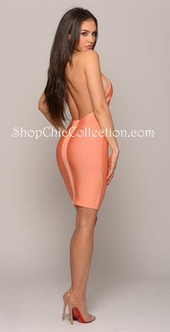 Alexis Mesh Bandage Dress- Blush