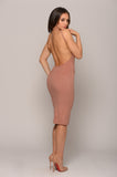DUSTY ROSE SUEDE BACKLESS MIDI DRESS -Dresses