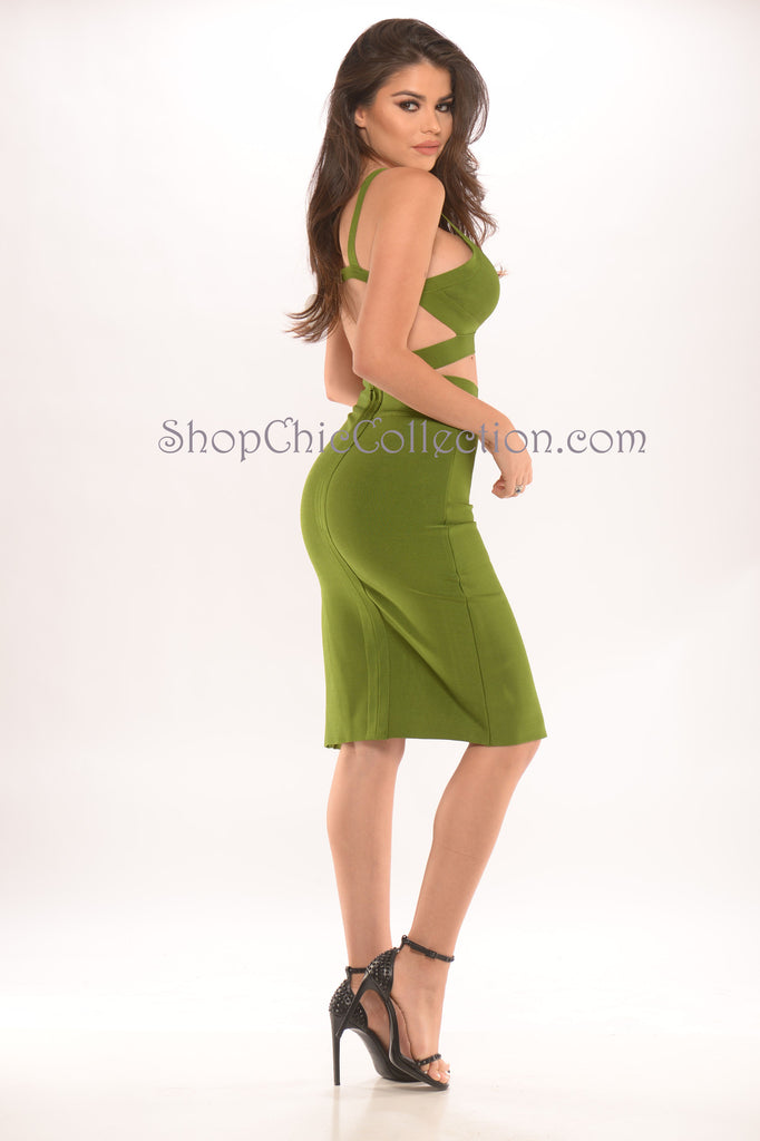 Carla two piece bandage dress - olive -Bandage