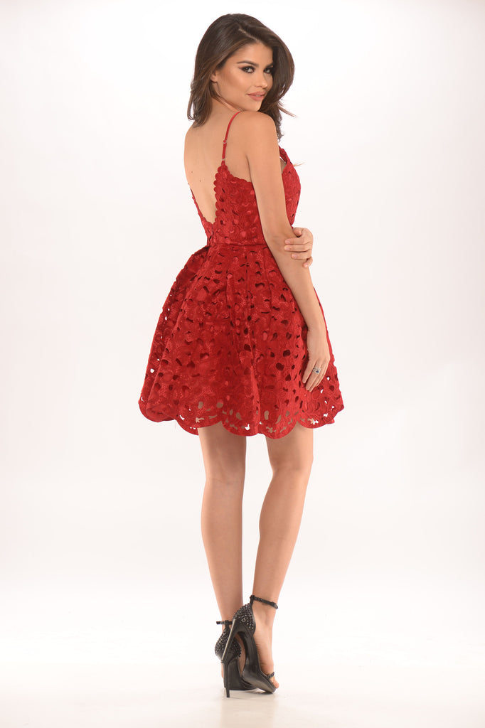 Laser Cut Fit and Flare Dress - Red -dresses