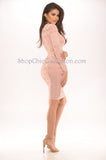 Alexis Mesh Bandage Dress- Blush -Bandage
