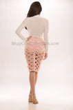 Casey Cage Bandage Skirt - Light Pink -Bandage