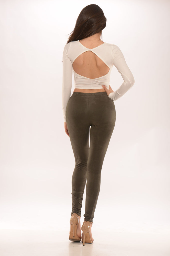 cutout back crop top - ivory -tops