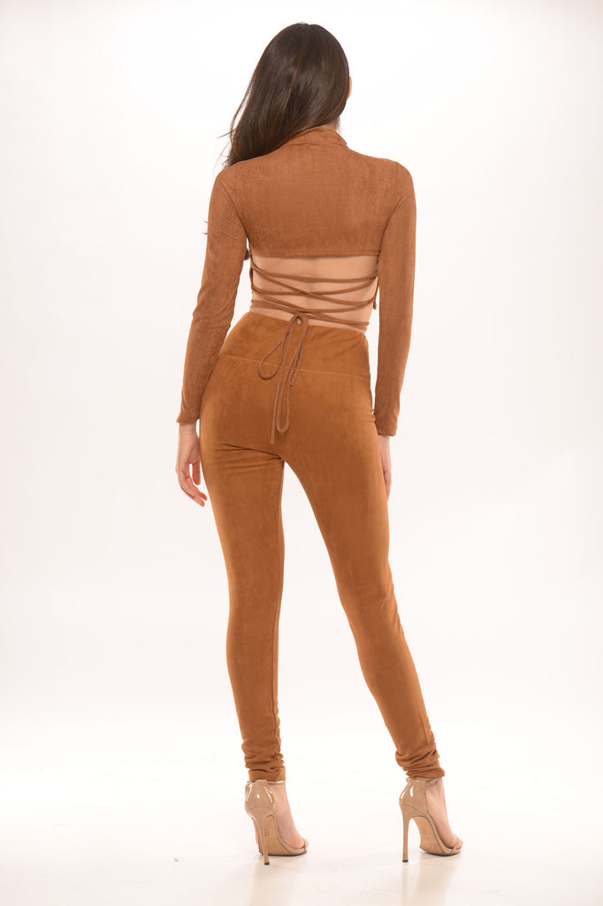 faux suede mock neck crop top - camel -Tops