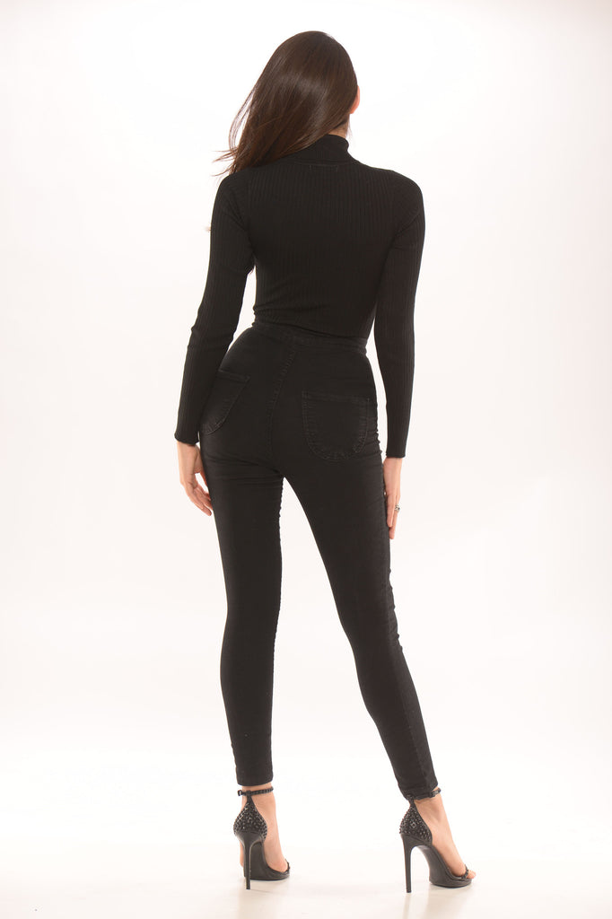 Turtle Neck Ribbed Bodysuit -Tops