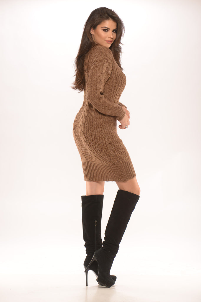 Cable Knit Sweater Dress -sweater