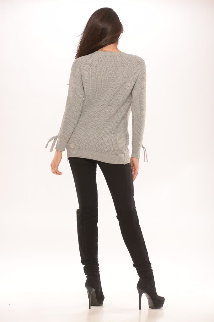 Grey Braided Knit Sweater -sweater