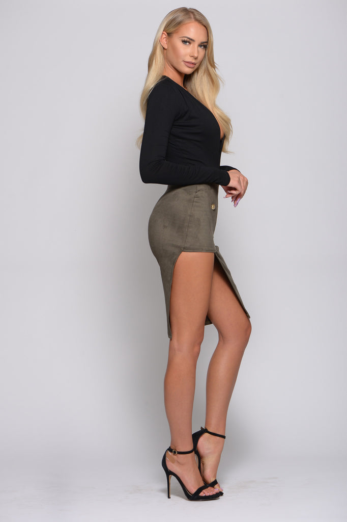 KICK SOME BUTTONS SUEDE ASYMMETRICAL SKIRT