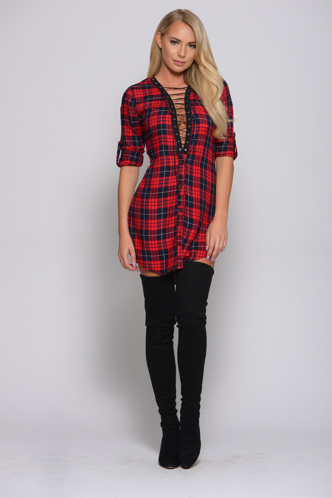 PLAID LACE UP SHIRT DRESS