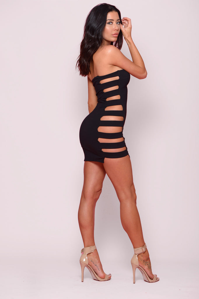 DARE TO BARE OPEN SIDE MINI DRESS -Dresses