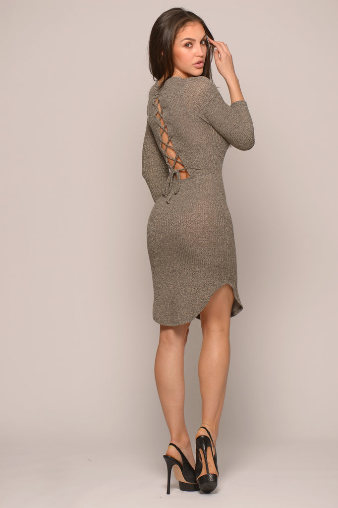 CURVED HEM LACE-UP BACK DRESS -Dresses