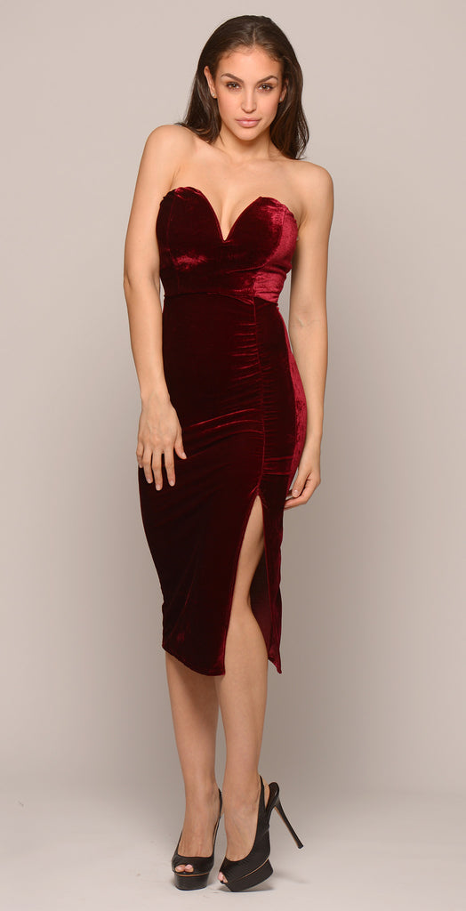 Velvet Sweetheart Ruched Dress - Burgundy -dresses