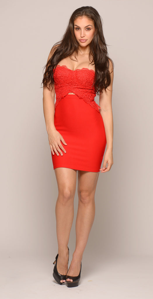 BURNING DESIRE LACE BUSTIER DRESS - RED -Dresses