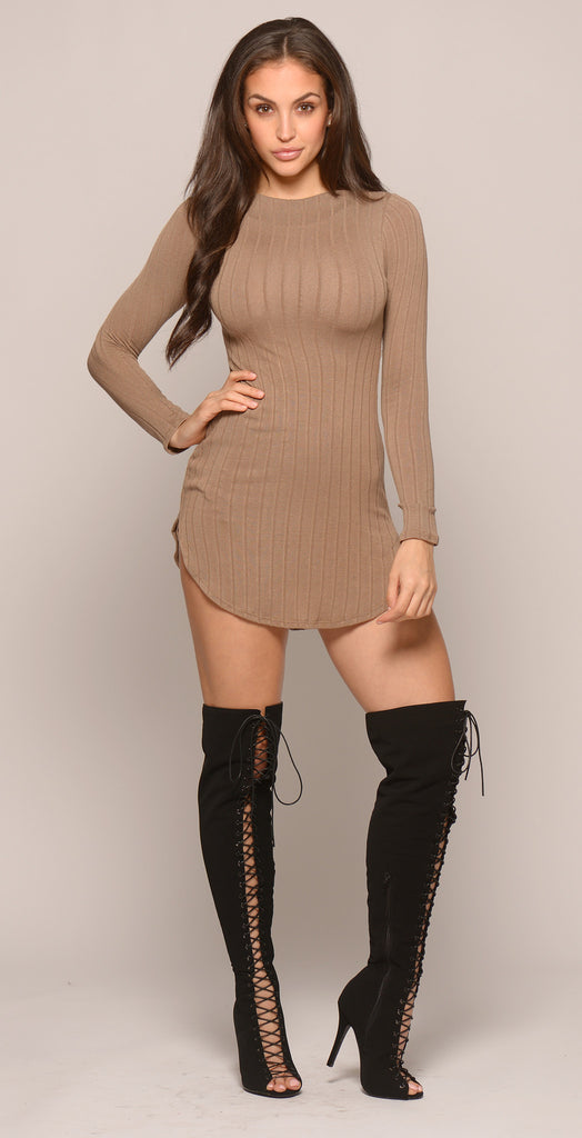 LONG SLEEVE CURVED HEM DRESS -Dresses