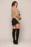 KNIT OVERSIZED COLLAR JACKET - MOCHA -outerwear