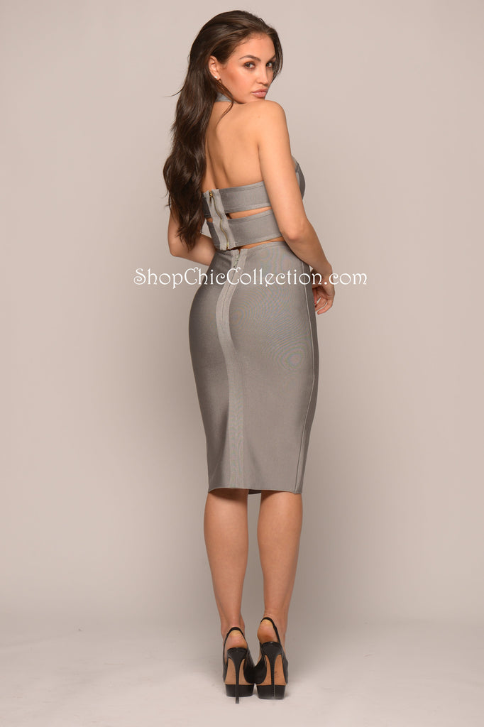 Olivia Bandage Two-Piece Set - Grey -bandage