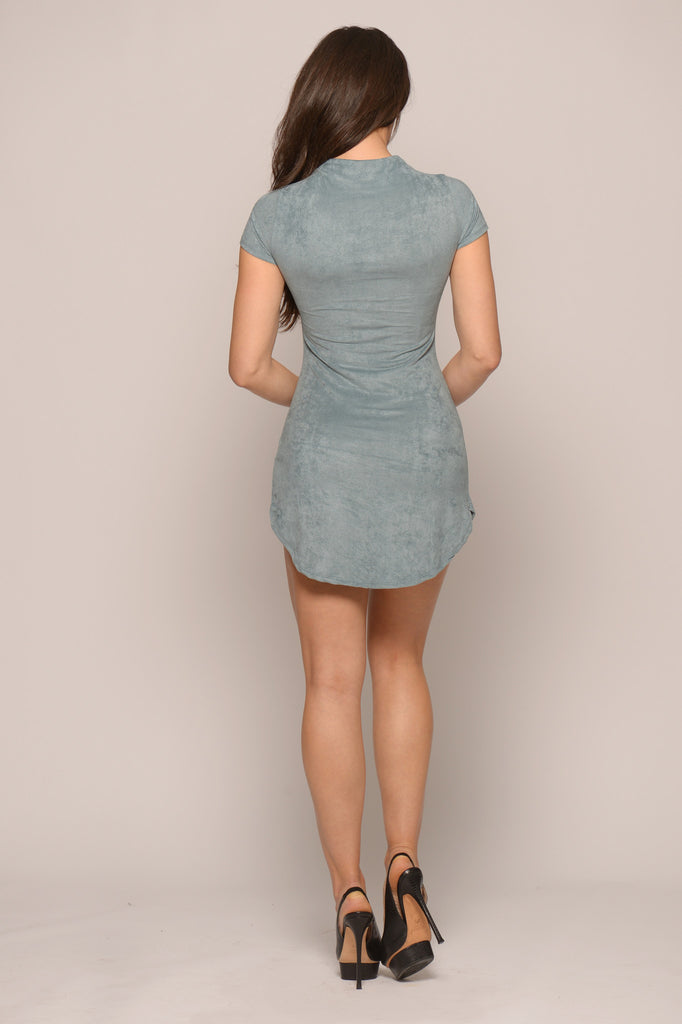 Suede Curved Hem Mini Dress -dresses