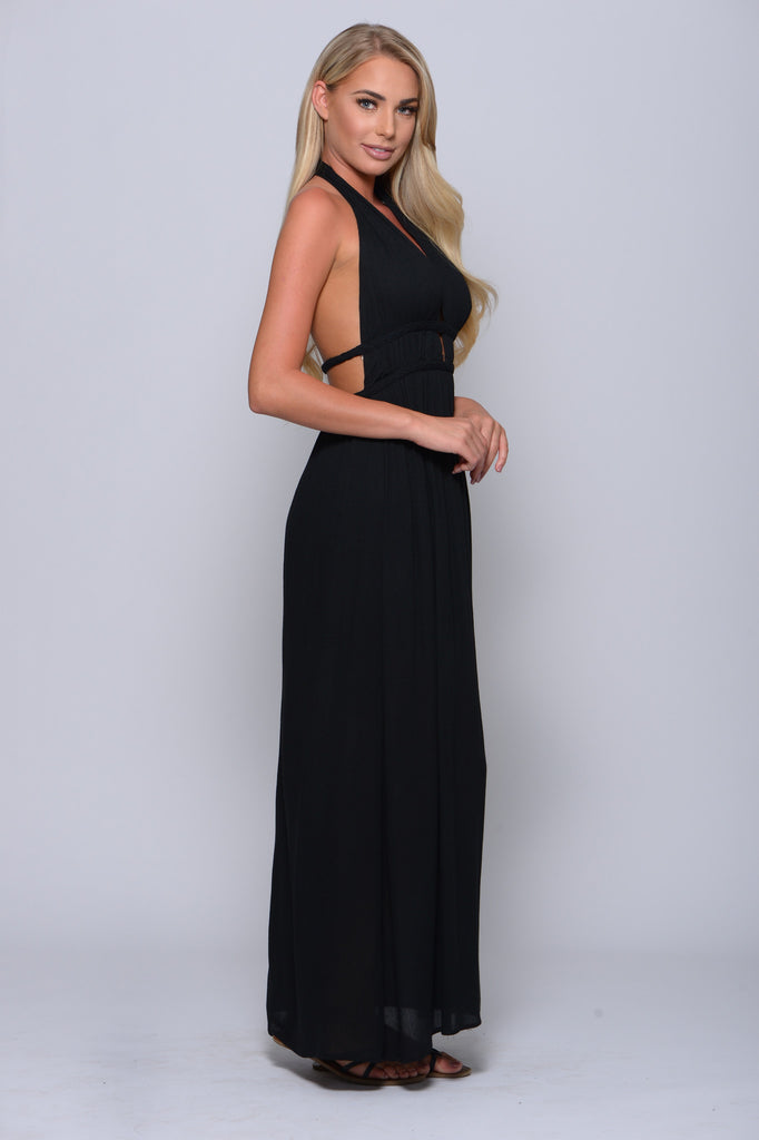 FLUTTER FREELY BLACK MAXI DRESS