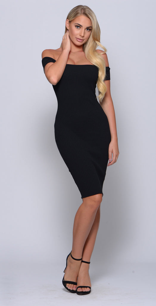 RUSH YOUR SHOULDER OFF RIBBED BODYCON DRESS