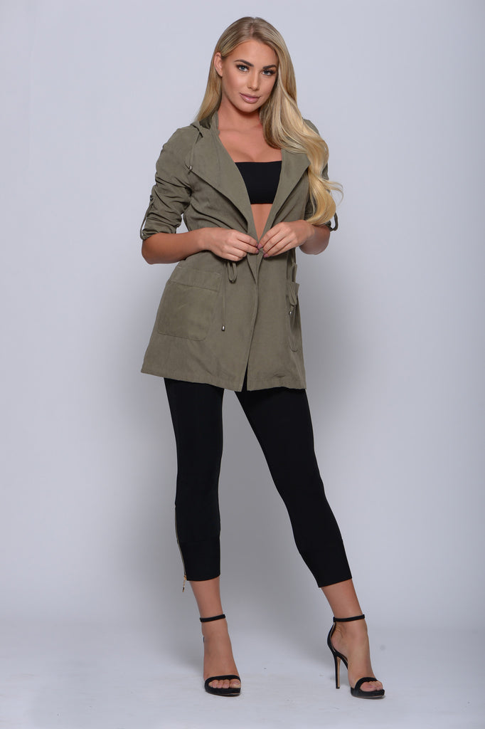 HOODED ANORAK JACKET WITH DRAWSTRING WAIST