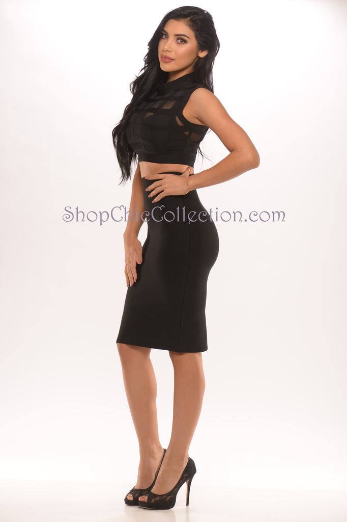 Grace Two Piece Bandage Dress - Black -Bandage