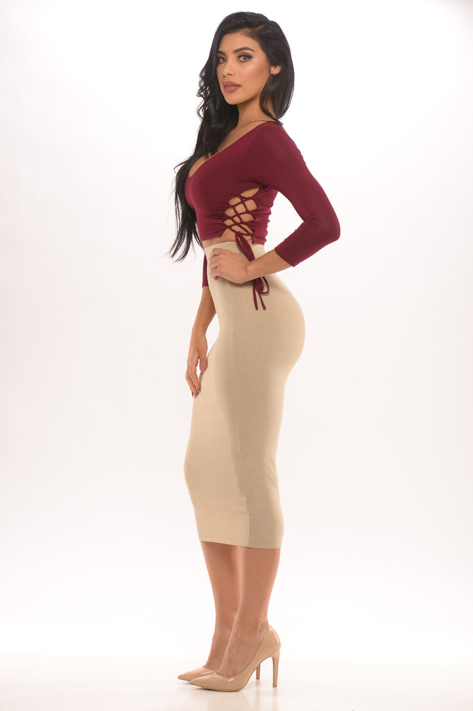 Lace Me Down Crop Top - Burgundy -tops