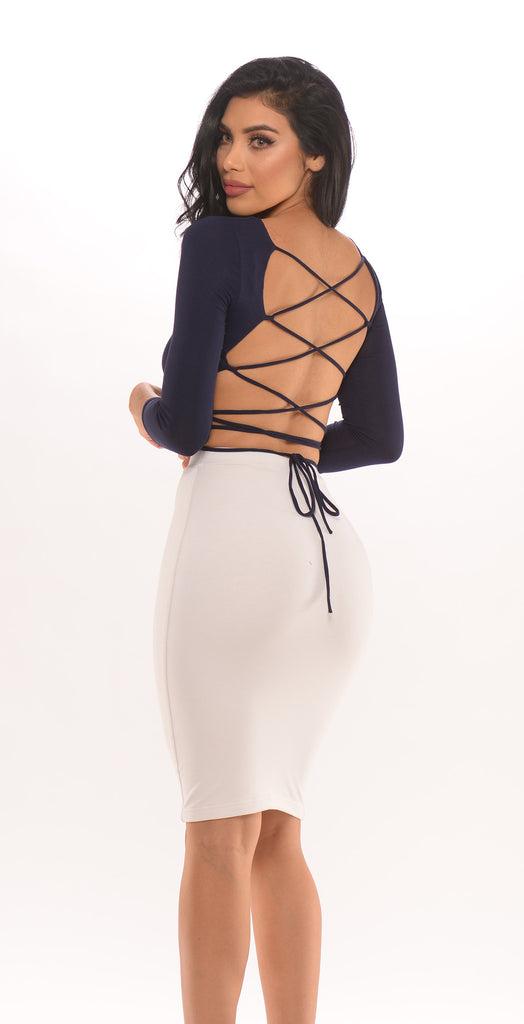 Lace Up Back Crop Top -tops