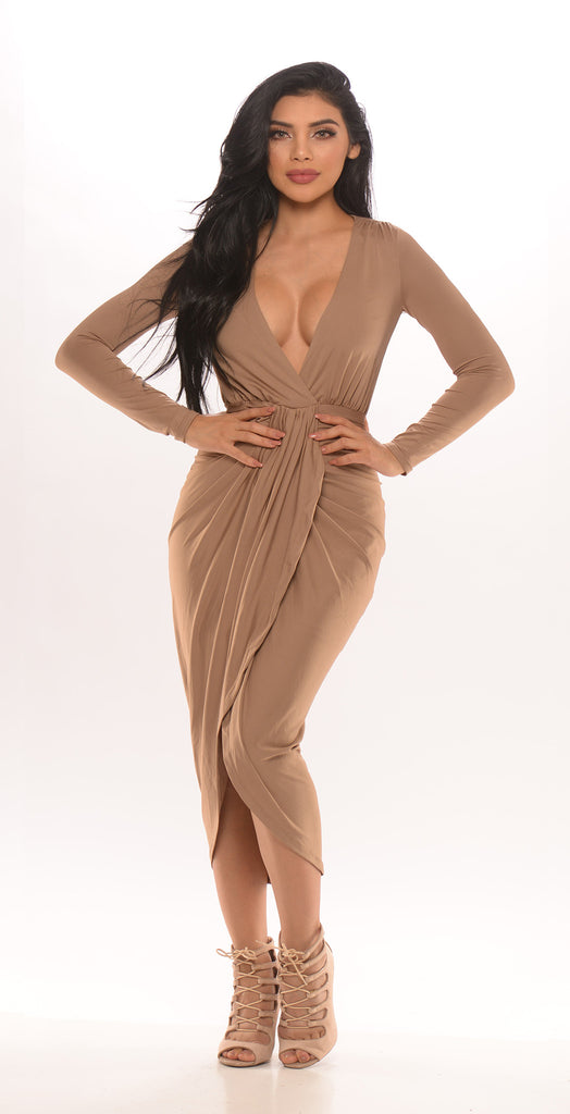 Pause To Inquire Long Sleeve Dress - Taupe -Dresses