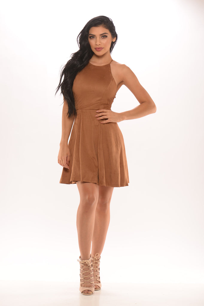Suede Tied Up Dress - Taupe -Dresses