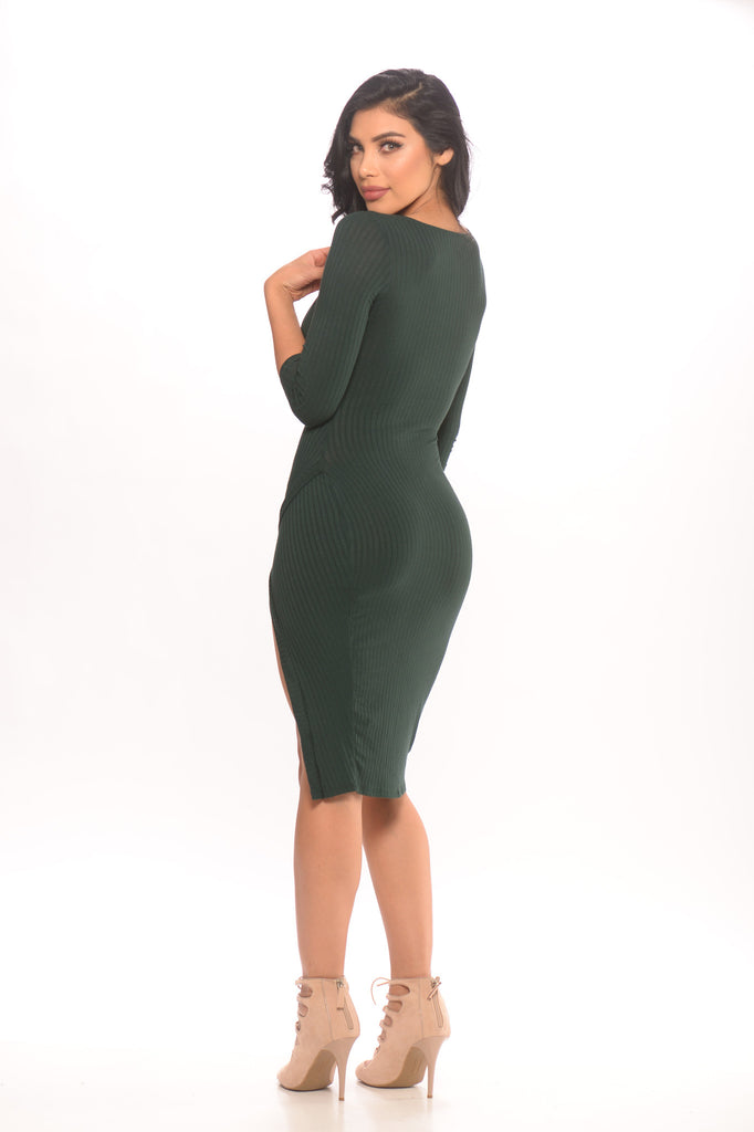 Hold Me Tight Ribbed Knit Dress - Hunter Green -Dresses
