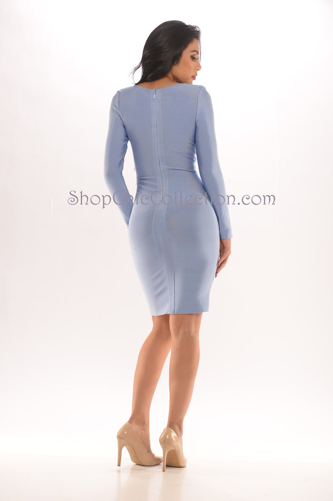Sally Bandage Dress - sky blue -Bandage