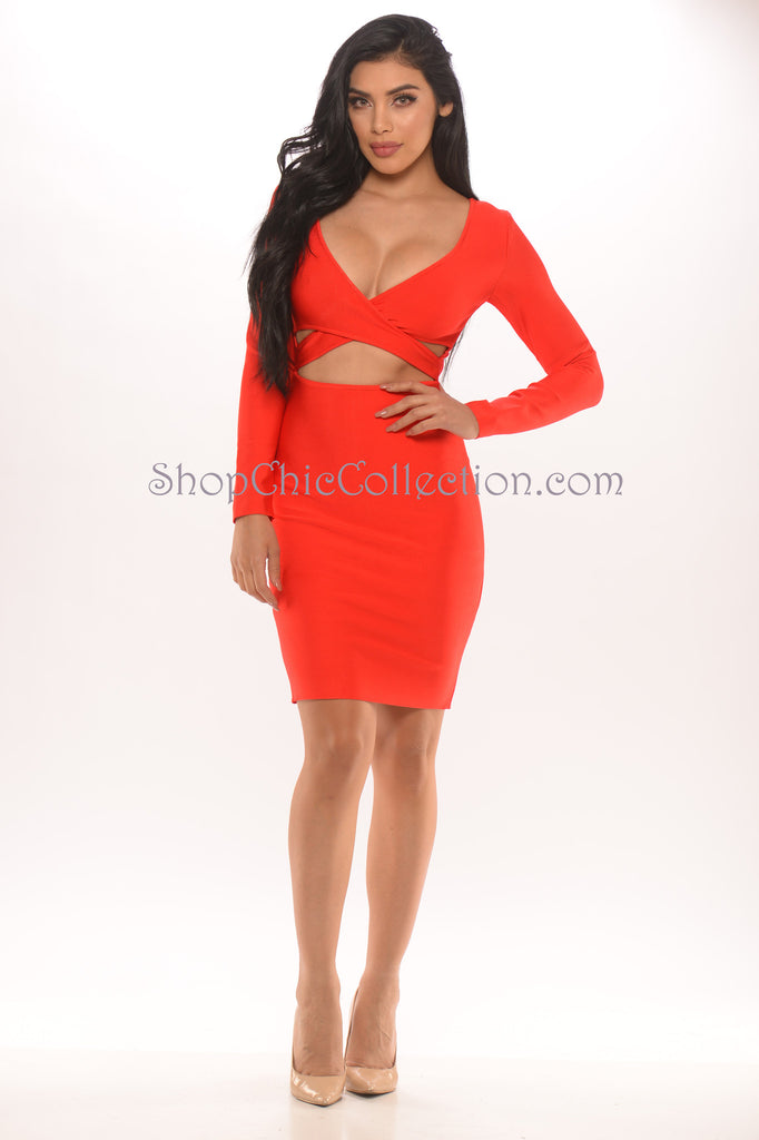 Sophia Bandage Dress - Red -Bandage