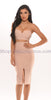Karen Two Piece Bandage Dress - Beige -Bandage