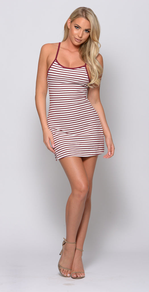 OH SO NAUTI STRIPED MINI DRESS -Dresses