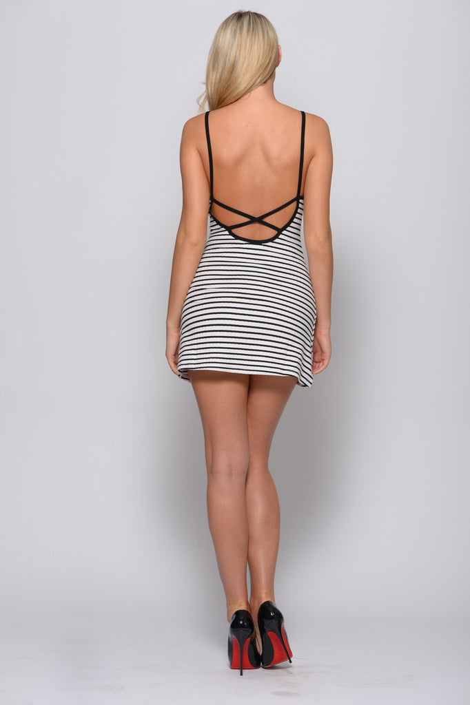 OH SO NAUTI STRIPED MINI DRESS