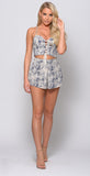 NAVY AND LIGHT BEIGE PRINT TWO PIECE SET -two piece