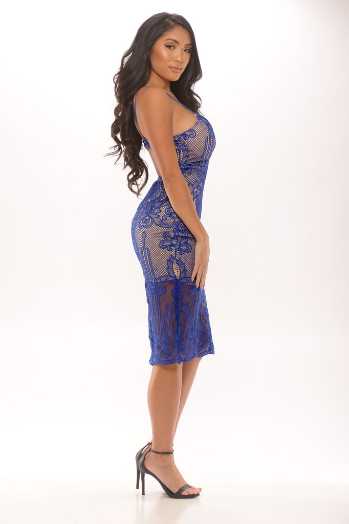 Only One Lace Midi Dress - Royal Blue -Dresses