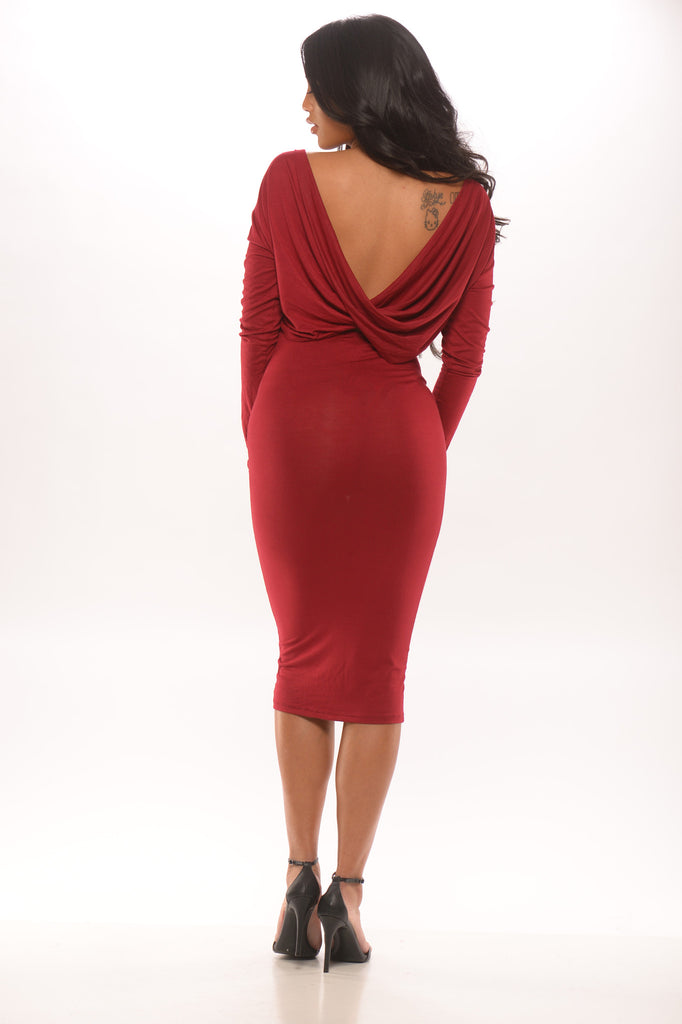 Callback Long Sleeve Dress - Red -dresses