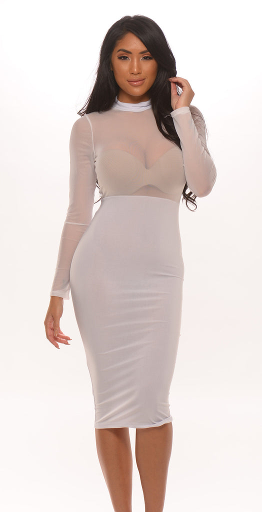 Sheer Mesh Long Sleeve Dress - White -dresses