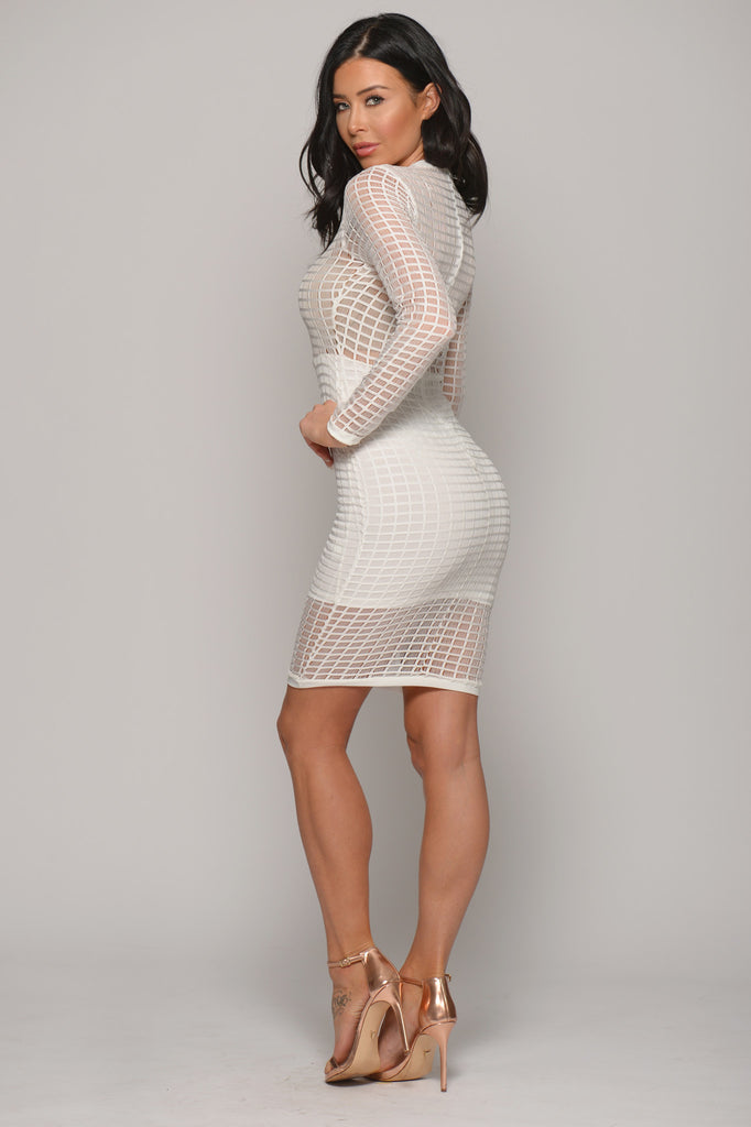 RISE OF DAWN GRID MESH DRESS -Dresses