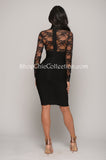 CARMEN LACE BANDAGE DRESS - BLACK -Bandage