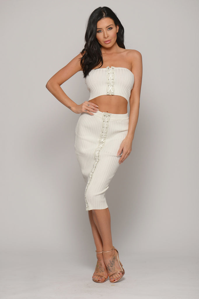 WHITE LACE UP BANDEAU CROP TOP -Tops