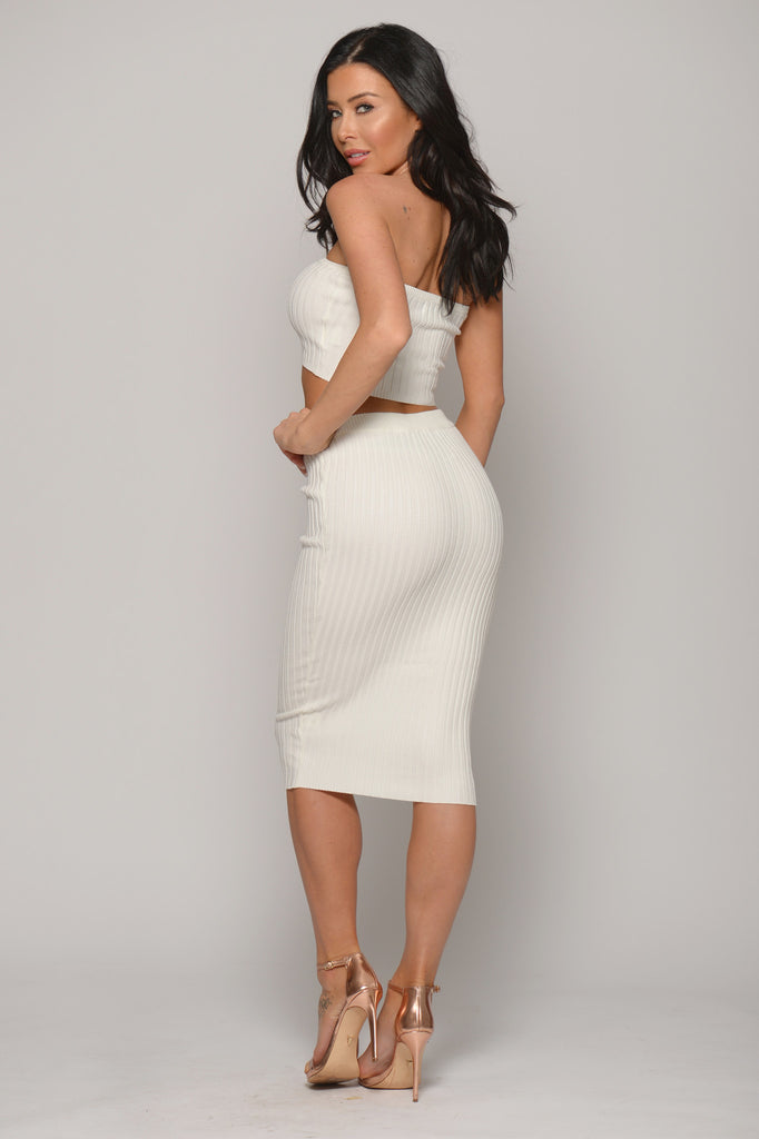 WHITE LACE UP PENCIL SKIRT -bottoms