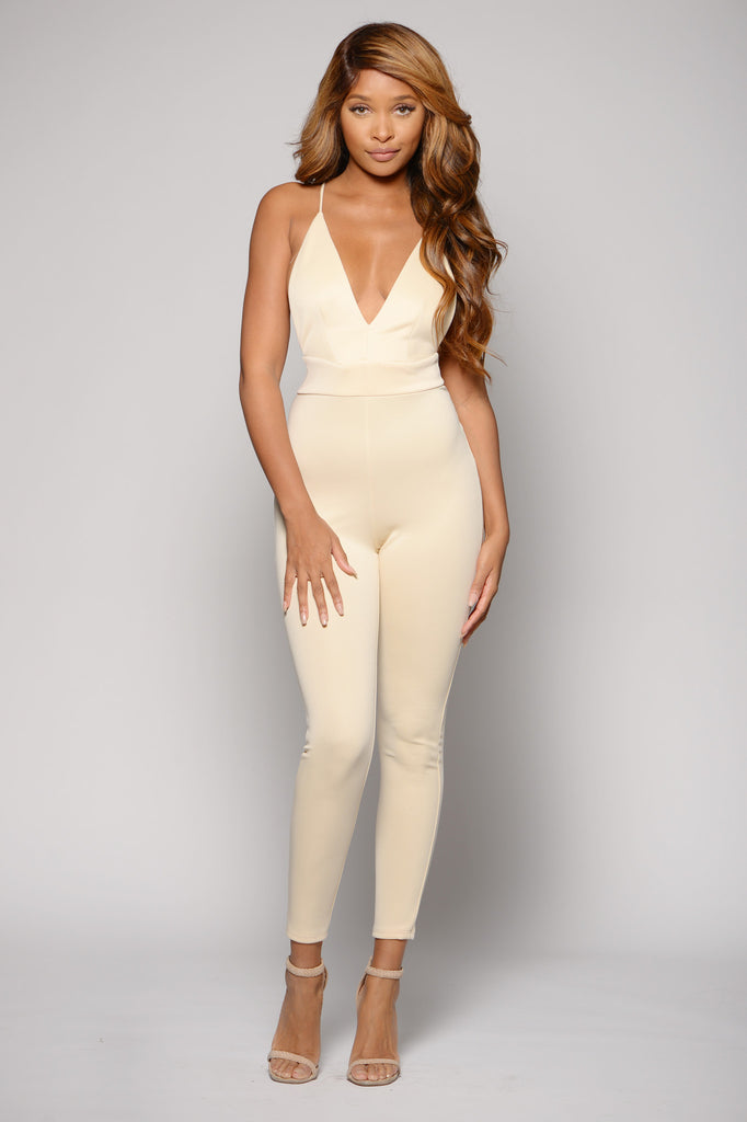 PLUNGING SCUBA KNIT JUMPSUIT -jumpsuits