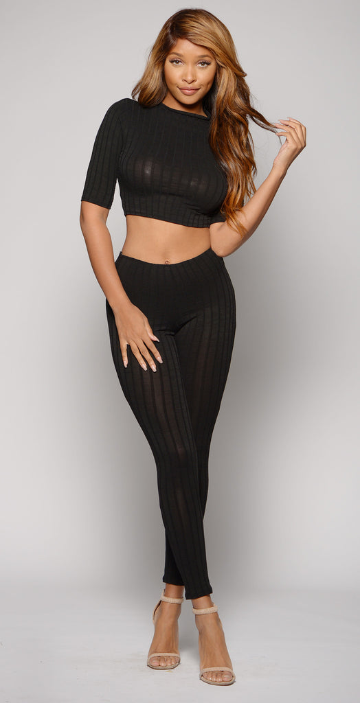 EFFORTLESS RIBBED SET -two piece