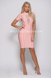 ALANA BANDAGE AND MESH DRESS - PINK -Bandage