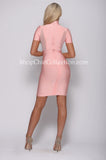 ALANA BANDAGE AND MESH DRESS - PINK